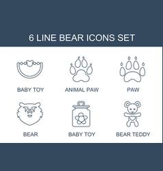 6 bear icons vector