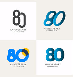 80 years anniversary celebration compilation logo vector