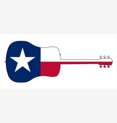 acoustic guitar silhouette on the texas state flag vector image