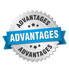 Advantages round isolated silver badge vector