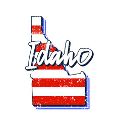 American flag in idaho state map grunge style vector
