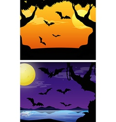 Background scenes with bats flying at twilight vector