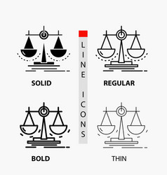Balance decision justice law scale icon in thin vector