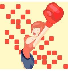 beautiful girl in boxing gloves vector image