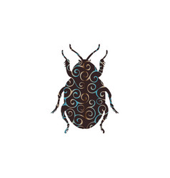 Beetle insect spiral pattern color silhouette vector