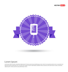 blood bag icons - purple ribbon banner vector image