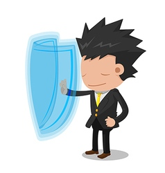 Business Man Suit Stop Protect vector image