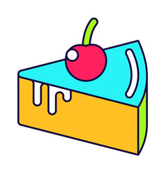 Cake with cherry vector