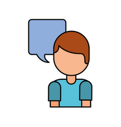 cartoon boy speech bubble message talk chat vector image