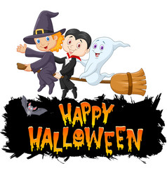 cartoon children with ghost fly using broom vector image