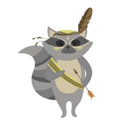 cartoon raccoon indian a vector image