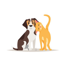 Cat and beagle dog friendship vector