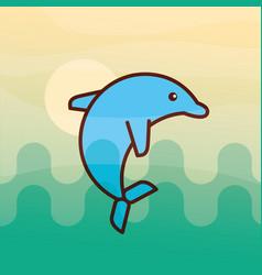 Cetacean dolphin sea life cartoon vector