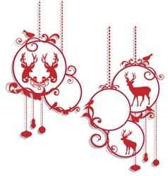 Christmas balls with deers and birds vector