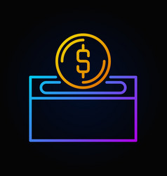 Colored donation box colored outline icon vector