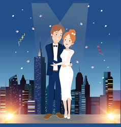 Couple character on wedding day vector