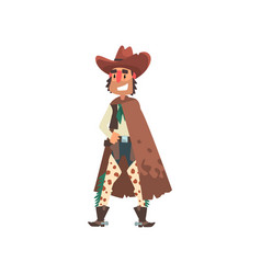 cowboy funny western cartoon character vector image