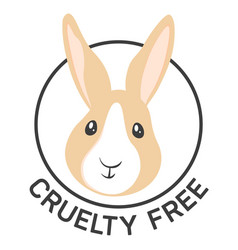Cruelty free vegan products label with rabbit vector