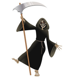 death in black cloak with scythe dancing party vector image
