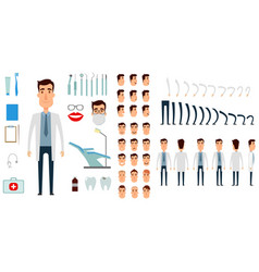 Dentist character creation set icons with vector