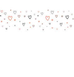 doodle hearts horisontal seamless pattern border vector image