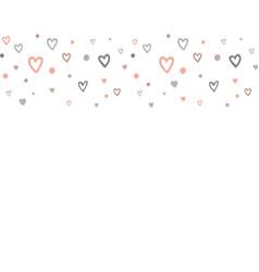 doodle hearts horisontal seamless pattern border vector image