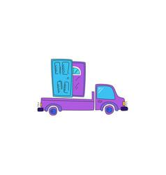 Door delivery car truck drawn in a cartoon style vector