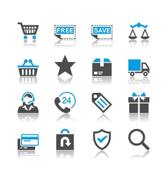 E-commerce icons reflection vector