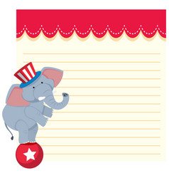 elephant on note template vector image