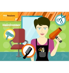 Female hairdresser in uniform holding hair dryer vector