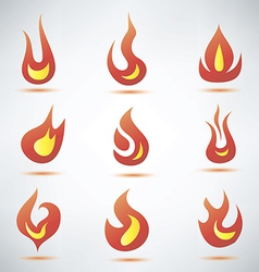 Fire flame symbol set icons vector