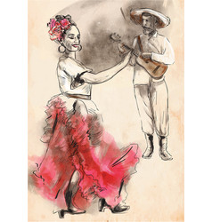 flamenco - an hand painted vector image