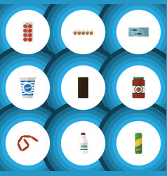 Flat icon food set of eggshell box yogurt tomato vector