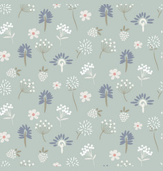 floral meadow pastel blue seamless pattern vector image