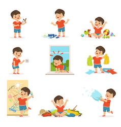 Funny little boy playing games and making mess vector