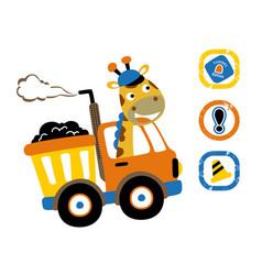 Giraffe driving truck with traffic signs cartoon vector