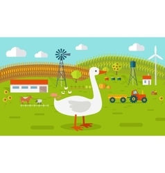 Goose on Farmyard Concept vector