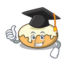 Graduation donut with sugar character cartoon vector