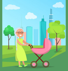 grandmother walk with newborn girl in stroller vector image