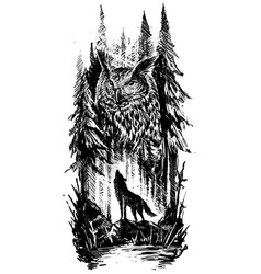 Graphic howling wolf with big owl in forest vector