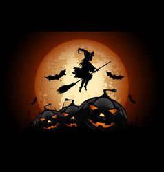 halloween background with whitch and pumpkin vector image