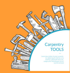 hand drawn woodwork tools carpentry sketch vector image