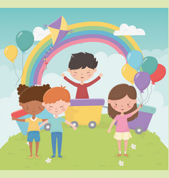 happy childrens day girls and boys with toys in vector image