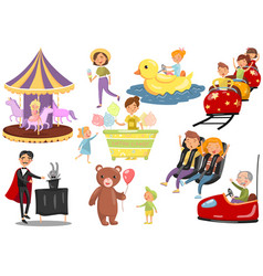Happy people having fun in amusement park set vector