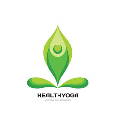 health yoga - logo template concept vector image