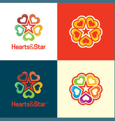 Hearts and star logo and icon vector