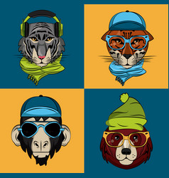 Hipster wild animals cartoon vector