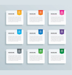 Infographics tab paper index with 9 data template vector