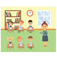 lesson in elementary school kids and teacher vector image