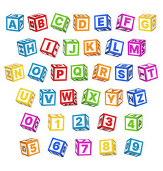 Letter blocks font 3d children toys english vector